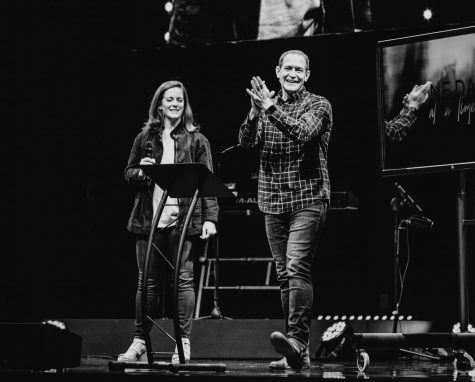 Pastor Gabe Tuner, class of 1997 and wife, Kari Turner deliver a powerful message onstage through The Point.