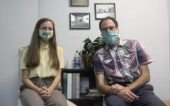 Senior intern Emily Eppard (left) with her mentor, editor David Holtzman (right) at The Central Virginian.