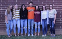 Class of '21 Lion's Roar seniors (Elizabeth Rosson, Haley Rosson, Sydney Perkins, Perry Hopkins, Carey Seay, Mackenzie Wilson, then-sophomore Anna Turner) as underclassmen on the 2019-2020 staff. Not pictured is 2020-2021 addition Isabella Rocha.