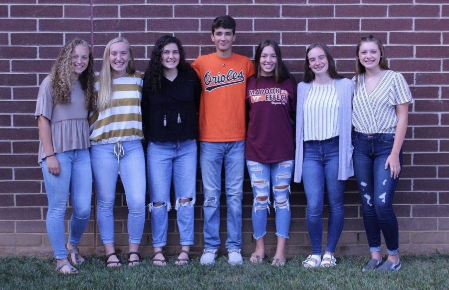Class of 21 Lions Roar seniors (Elizabeth Rosson, Haley Rosson, Sydney Perkins, Perry Hopkins, Carey Seay, Mackenzie Wilson, then-sophomore Anna Turner) as underclassmen on the 2019-2020 staff. Not pictured is 2020-2021 addition Isabella Rocha.