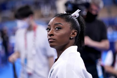 Simone Biles waiting to perform at the 2021 Tokyo Summer Olympics